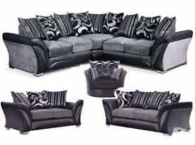 Shamrock corner, 2 and 3 seat sofas with swivel chair