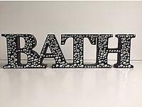 BLACK DIAMANTE BATH SIGN - NO OFFERS