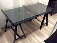 IKEA glass top trestle table