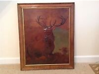 Monarch of the Glen Leather Stag Deer Large Picture with Dark Wood Frame