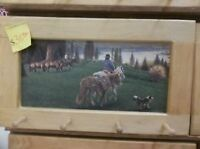 Cowboy And Dog Art Framed Peg-Board