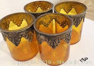 Yellow Stained Glass Votives