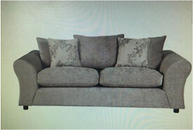 Mink grey silver cushions 3 seater couch sofa (new condition)