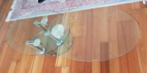 Dual Tabletops Oval Tempered Glass Coffee Table
