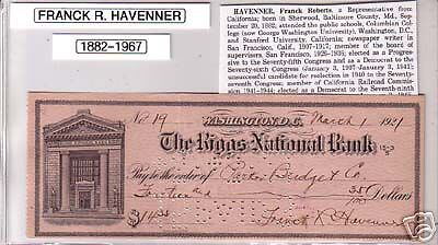 Rep. FRANCK HAVENNER (CA) Signed Autograph Check