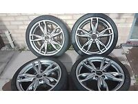 Bmw 18 436M Alloy Set Staggered+Tyres Ferric Grey Rims Excellent Condition