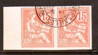 France Ceres 117 used 1900 15c sheet margin pair, Rare 15 Sheet Duo