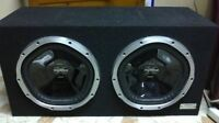"2 12"" Sony xplod subs and a 1000 watt  1v2 JBL amp"