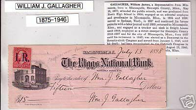 Rep. WILLIAM GALLAGHER (MN) Signed Autograph Check