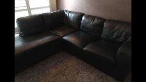 Black Leather Lounge Balmain Leichhardt Area Preview