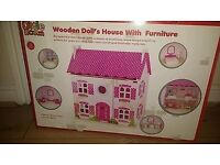 Brand new little room wooden doll house with furniture