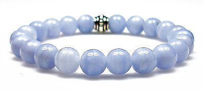 Bracelet - Blue Lace Agate 8mm Round Crystal Bead W/ Desc...