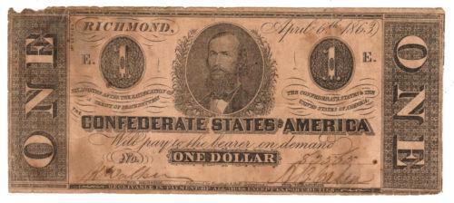Confederate One Dollar Bill Ebay