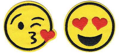 Herzen Kuss Herz Augen Aufbügler Aufnäher Heart Patch Badge (Herz Augen Smiley)