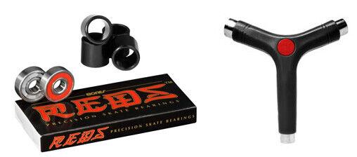 Bones Reds Skateboard Bearings 8mm Size 608 8 Pack + Spacers AND Y-TOOL