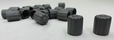 100 GRAY PLASTIC TIRE VALVE STEM CAPS TPMS with GASKET