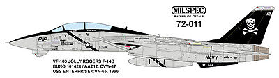MILSPEC DECALS, 72-011, 1/72 SCALE, F-14B TOMCAT, VF-103 JOLLY ROGERS