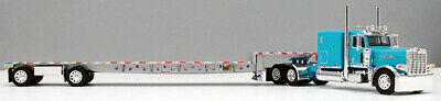 DCP 1/64 SCALE 389 PETERBILT FLAT, TURQUOISE WITH TRANSCRAFT STEPDECK TRAILER  3