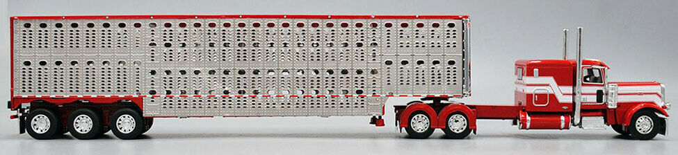 DCP 1/64 Red White 389 Peterbilt Tri-Axle Wilson Livestock Trailer 60-0521 1