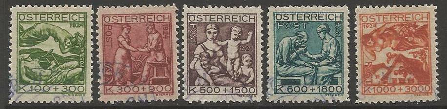 AUSTRIA SG563/7 1924 ARTISTS CHARITY FUND FINE USED