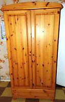 Gorgeous Pine Bowed Top Wardrobe/Armoire for Sale
