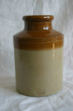Antique Mustard Crock, Glazed Stoneware Pottery Two Toned Ochre