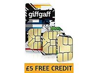 GiffGaff Nano/Micro/Standard 3 in 1 SIM £5 credit