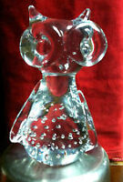 Cute Glass Owl Paperweight with Bubbles - NEW PRICE