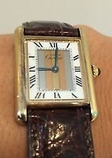 Must De Cartier Tank Tricolour 18ct Gold Vermeil Watch (Original Box/papers/certificate)