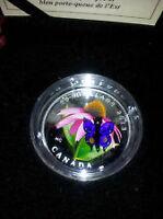 Pièce 20$ en argent fin Echinacee et papillon en verre vénicien.