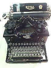 Vintage royal typewriter, old manual typewriter with glass keys.