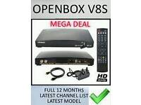 OPENBOX V8S satellite reciever fully loaded for 12 months Will deliver and set up