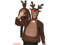 MENS REINDEER FANCY DRESS OUTFIT SIZE M GREAT FOR A PARTY OR PLAY