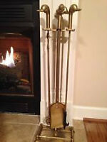 VINTAGE BRASS DUCK HEAD FIREPLACE TOOLS