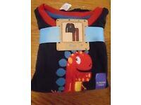 "BNWT one pair of boys ""Dinosaur"" fleecy pyjamas, age 4-5 yrs 110cm, Red/Navy, ONLY £2"
