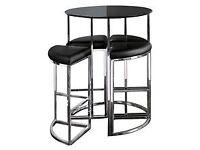 Dwell Orbit Bar table and 4 stools- black gloss- compact and stylish