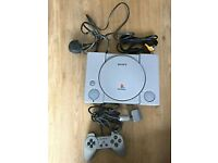Sony Playstation With All Leads, 1 Control Pad & 1 Game ( Theme Park )