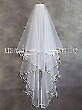 "Beautiful Satin Trim Veil, 72"" Long"