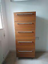 Habitat Walnut Brown Tall Boy/ Chest of drawers