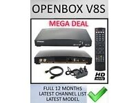OPENBOX V8S SATELLITE RECIEVER FULLY LOADED FOR 12 MONTHS WILL DELIVER