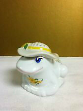 Vintage Patterned ceramic Frog with Hat