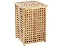 Laundry basket hamper wood solid