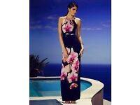 Next Lipsy womens navy maxi long beach bridesmaid evening party wedding floral dress 8 new gift