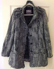 GUESS Los Angeles black white grey Tweed Coat Size L, like New