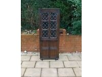 PRIORY OAK LEADED GLASS CORNER DISPLAY CABINET BOOKCASE CUPBOARD