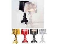 Roman Conrad (Kartell style) Bourgie styleTable Lamp, Clear styel Black, Red, Silver, Clear