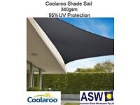 Coolaroo 5m triangle shade sail/parasol/sun protection/rain protection