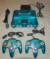 ICE BLUE N64 with 2 controllers and expansion