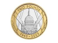 St Pauls Cathedral 2005 Two Pound Coin with Mint Errors