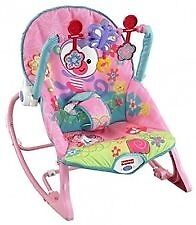Fisher Price Pink Baby Bouncerin Bradford, West YorkshireGumtree - Fisher Price Baby Bouncer For Sale Used but in condition. Fisher Price Infant to Toddler Rocker The Pink Fisher Price Infant to Toddler Rocker is a sweet bunny print rocker with three interactive toys on the snap in toy bar. It is a perfect grow with...